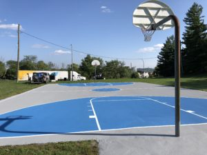 Blue Basketball Court Resurfaced