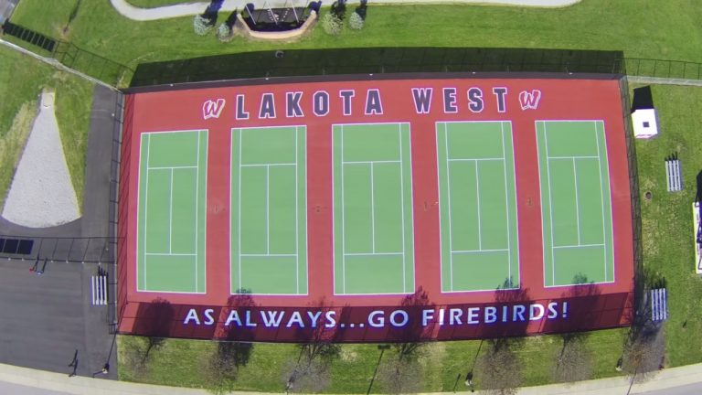 Lakota West High School Tennis Courts Drone Shot of Courts